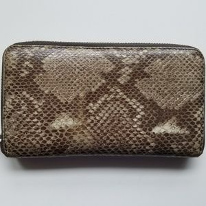 Furla Snakeskin Zip-around Clutch Wallet